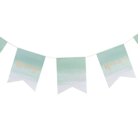 Mint & Gold Ombre 'Hooray' Party Bunting